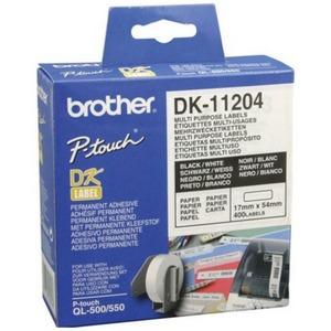 Brother DK11204 Rola cu Etichete Multifunctionale Negru pe Alb