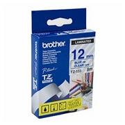 Brother TZE133 Banda Laminata Albastru pe Transparent