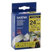 Brother TZEFX651 Banda Laminata Flexibila-ID Negru pe Galben