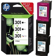 HP 301 + HP 301 (E5Y87EE) Pachet 2 Cartuse Negre si 1 Cartus Color